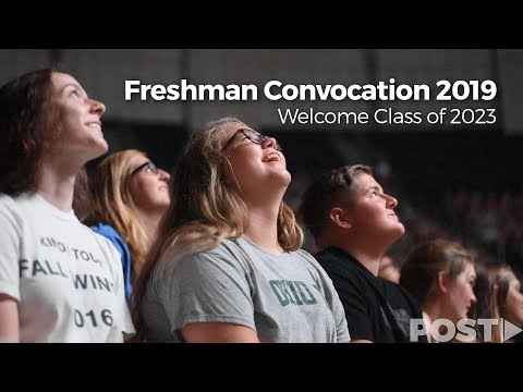 Ohio University President Duane Nellis and other faculty members address the newly arrived Class of 2023 at the annual Convocation ceremony. Following the ceremony and the president's remarks, the Marching 110 led the freshman class to College Green for the Involvement Fair. Video by Kevin Pan, Kelsey Boeing and Blake Nissen (drone footage) Editing by Nicholas Langer Visit our website: https://www.thepostathens.com/ Find us on social media: Instagram: https://www.instagram.com/thepostathens/ Twitter: https://twitter.com/ThePost Facebook: https://www.facebook.com/ThePostAthens