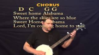 Sweet Home Alabama - Banjo Cover Lesson with Lyrics and Chords
