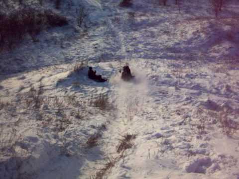 Sledding down a hill in Hortesa(?)