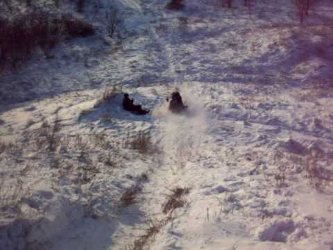 Sledding down a hill in Hortesa(?)