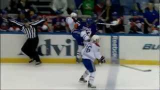 Casey Cizikas hits Alex Galchenyuk on the bench . Mar 5, 2013