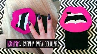 DIY - CAPINHA DE BOCA ROSA / capinha de celular com cola quente e EVA