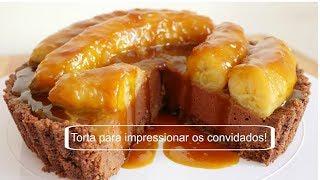Torta  pratica e fácil de chocolate com banana caramelizada