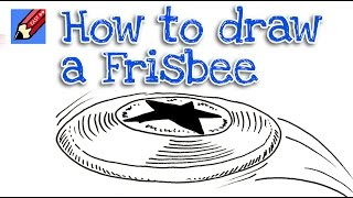 How to draw a flying frisbee real easy - step by step