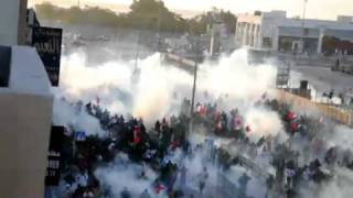 BH.14Feb.Protest in Sitra get Multisomke Projectile CS gas