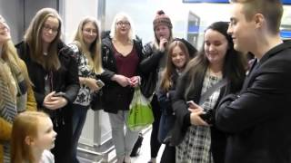 Edward Chatting To A Little Girl   Jedward   Dublin Airport   11/1/16