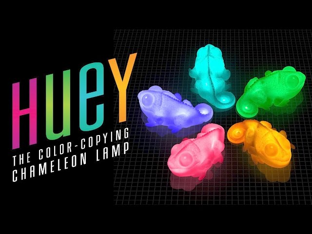 Huey the color copying chameleon lamp thinkgeek