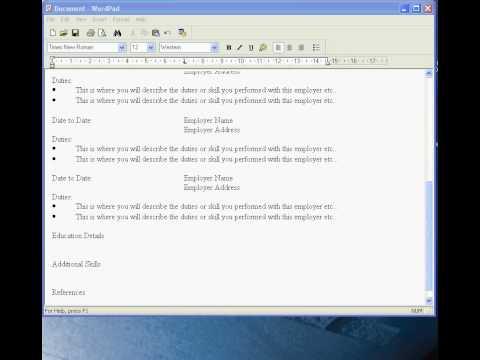 Making A Resume On Wordpad Jobs Ecityworks