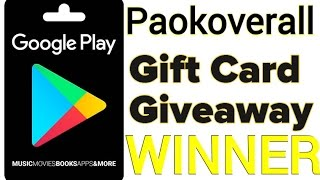 Google Play Card Giveay Winner!!!!