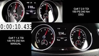 Golf 7 2.0 TDI 150 PS  vs Golf 7 1.4 TSI 140 PS DIESEL vs PETROL 0-200 km/h