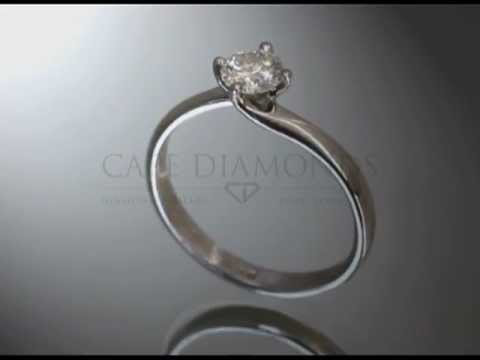Solitaire ring,round diamond,twisted band,platinum,engagement ring