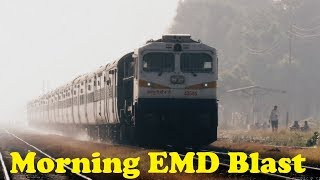 Cracking Morning BLAST | Stunning Speedy EMD with TRACK Sound | Indian Railways