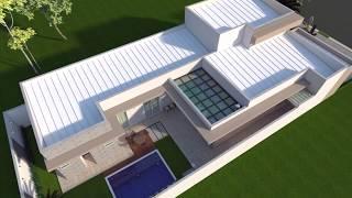 Projeto de Casa Térrea Fachada em Arquitetura Moderna terreno 12x25 Condomínio Damha Limeira