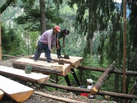 Cutting timber in the Annapurna