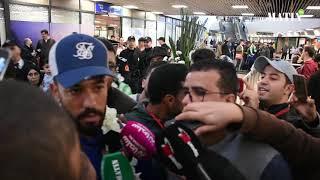 Accueil triomphal des Aigles verts à l'aéroport Mohammed V