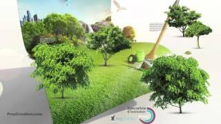 Modèle 3D Prezi Green décliné en Template