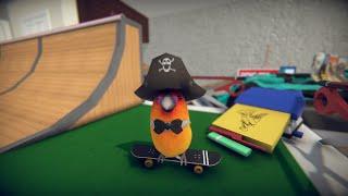 "SkateBIRD gameplay video shows \""Humble Bedginnings\"" level and character customization"