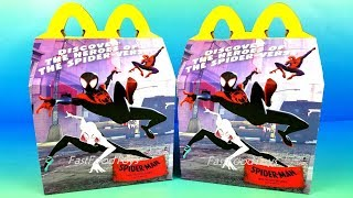 2018 EVERYTHING McDONALD'S SPIDER-MAN INTO THE SPIDER-VERSE HAPPY MEAL TOYS BOX DISPLAY USA UNBOXING