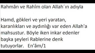En'âm Sûresi 1. ayet türkçe meali