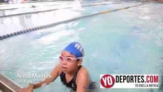 Alicia Montes competencia de natacion en el parque Gill de Chicago