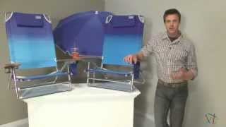 2 Rio Ombre Big Kahuna Beach Chairs + 1 Blue Umbrella and Anchor - Product Review Video