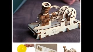 Wooden  Puzzle Mechanical 3D Self Propelled Model Engine Jigsaw Puzzle Toys Gift