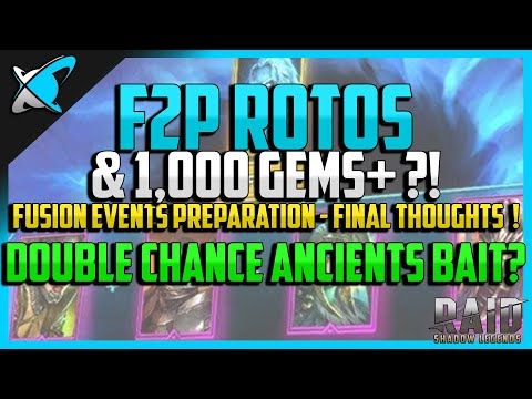 RAID: Shadow Legends | 100% *F2P* ROTOS FUSION & 1,000 GEMS+ !?! | Double Chance Ancient Bait !?!
