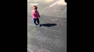 Little Girl Scared of Her Own Shadow
