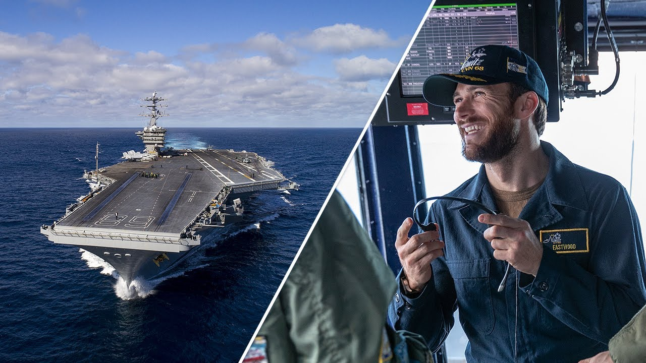 Scott Eastwood and the Made Here team Aboard the USS Nimitz