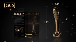 video Zlatý vibrátor ze skla ICICLES G05 Gold Edition