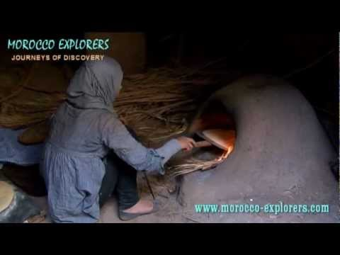 Morocco baking bread in a clay oven – A Desert Village in the Sahara