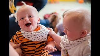 Cute Baby Twins Can't stop Laughing