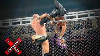 The Hardy Boyz battle Sheamus & Cesaro while balancing atop a steel cage: WWE Extreme Rules 2017