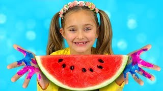 Sasha Paints with Toys and Watermelon & sing Wash your Hands Nursery Rhymes Kid Song