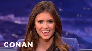 Nina Dobrev Shows How To Make The Sexy Vampire Face - CONAN on TBS