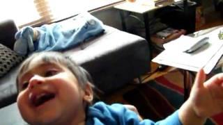 Niam laughing at Sausage!