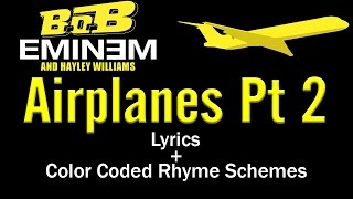 Eminem's Verse - Airplanes Pt 2 - [Lyric Video & Colored Rhyme Scheme]