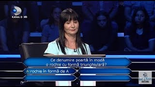 """Vrei sa fii milionar? (04.12.2018) - """"Ce denumire poarta in moda o rochie cu forma triunghiulara?"""""""