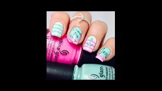 Pink and Aqua Nautical Nail art