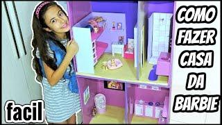 como fazer CASINHA para Bonecas BARBIE  de PAPELÃO (FÁCIL )