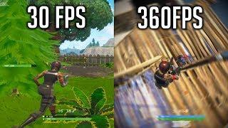 FORTNITE RENDER SETTINGS SHOWCASE 30FPS vs 60FPS vs 120FPS vs 240FPS vs 360FPS