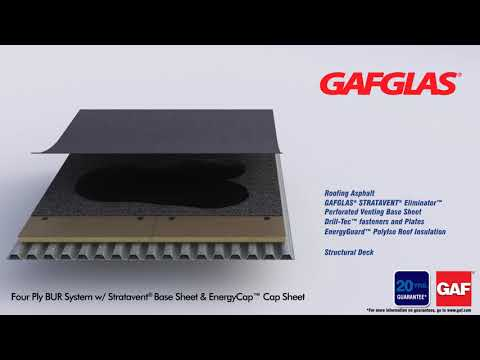 GAFGLAS Four Ply BUR System with Stratavent Base Sheet & EnergyCap Cap Sheet by GAF