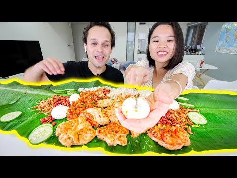 We made MALAYSIAN STREET FOOD!!! At HOME!!! (Nasi Lemak) The BEST Street Food in Malaysia!!!