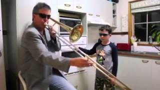 Dad and Son Trombone FUNNY