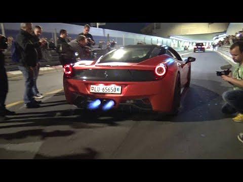 CRAZY LOUD Ferrari 458 Italia Shooting FLAMES!!