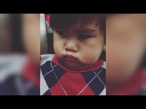 Little Boy Pretends to be Angry Until Kiss