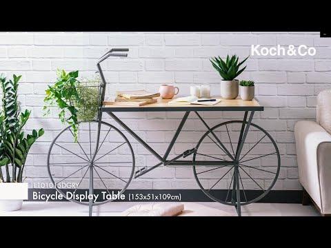 Bicycle Display Bench Metal Pine Top Grey (153x51x109cmH)