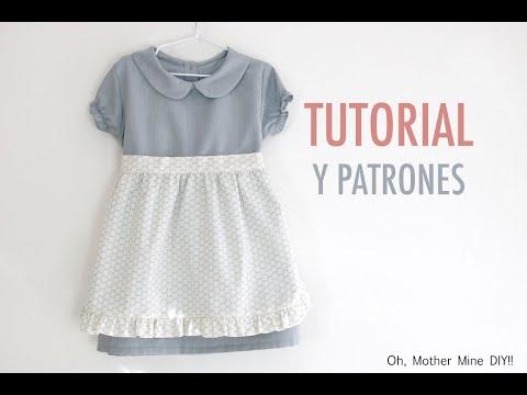 Costura: Vestido con delantal para niñas (patrones gratis hasta talla 9 años)