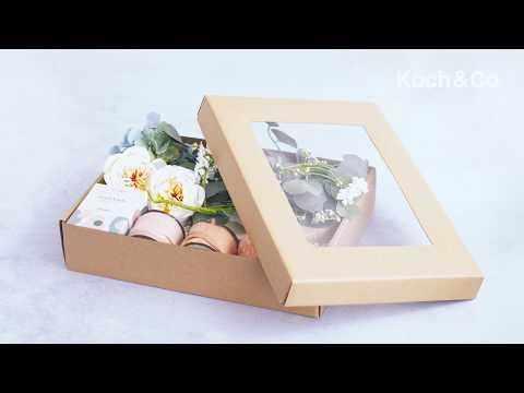 Gourmet Grazing Gift Box Window Large Brown Kraft 40x30x9cmH
