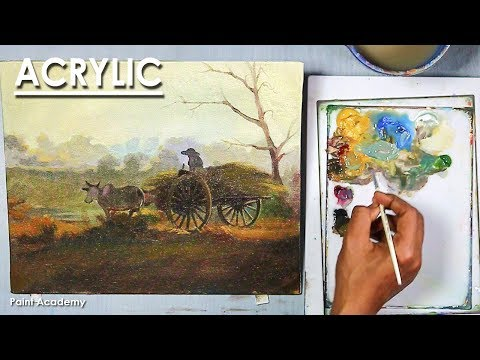 Acrylic Painting : A Bullock Cart scenery | step by step